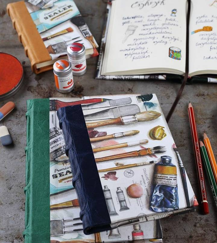 Cuadernos artesanales con lomo de piel. Con el diseño Atelier.