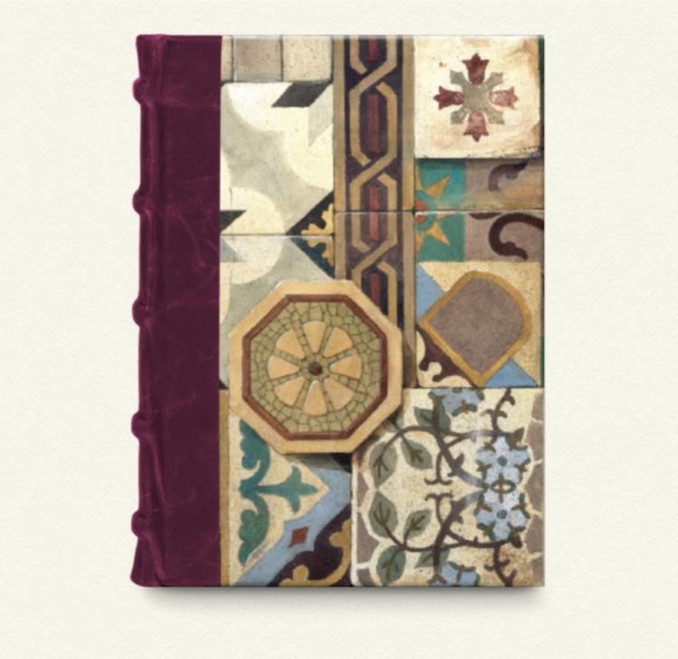 Cuaderno lomo de piel Burdeos con papel de Baldosas hidráulicas