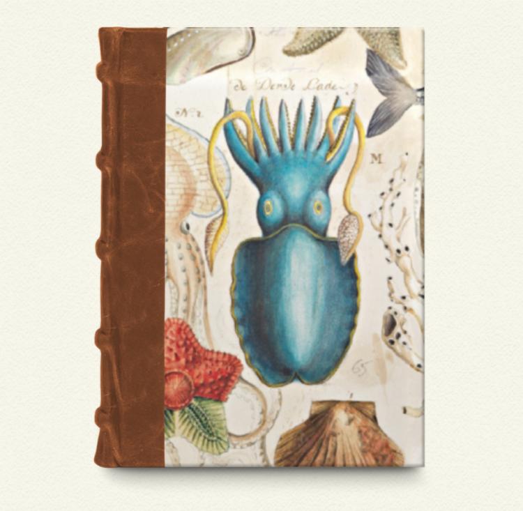 Cuaderno con lomo de piel/oceano 12x17,6
