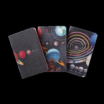 Set de 3 libretas A8 Planetarium