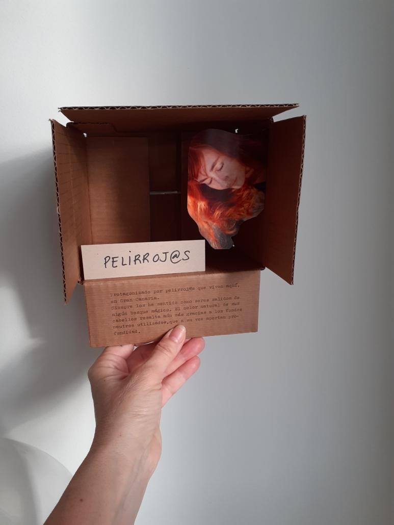 Caja soporte del texto explicativo de una exposición